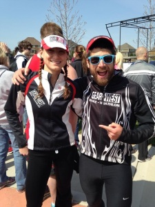 Devon & I in matching outfits post-race.