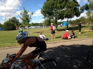 Watching the elite women's race, Sarah Haskins flying by on the bike.