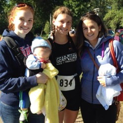 Post race with my best girlfriends, CeCe (left) and Jill (right). Adorable baby Dominic. Friends for over 15 years!