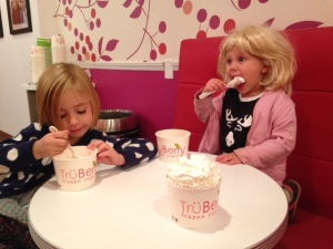 "Adeline & ""Katy Perry"" aka Hadley eating fro-yo at TruBerry"