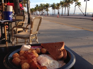 Patrick had breakfast while I biked
