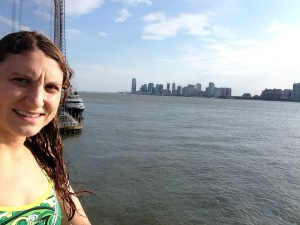 Post swim at Chelsea Piers, what a view from the pool!
