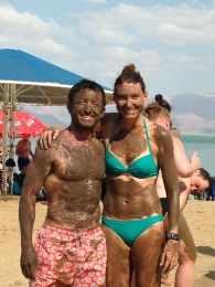 Mudding at the Dead Sea with Elad, college swimming and water polo team mate.
